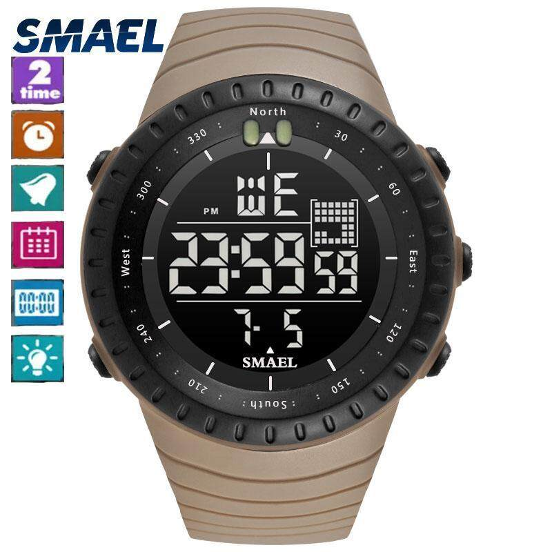 SMAEL 1237 2017 Men Watches Big Dial Digital Watch Man Water Resisitant 5bar Led Watches Digital Date Sport Wrist Watches Stopwatch 1237 Malaysia