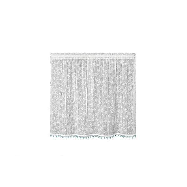 Heritage Lace Beach Trellis 42-Inch Wide by 24-Inch Drop Tier with Trim White