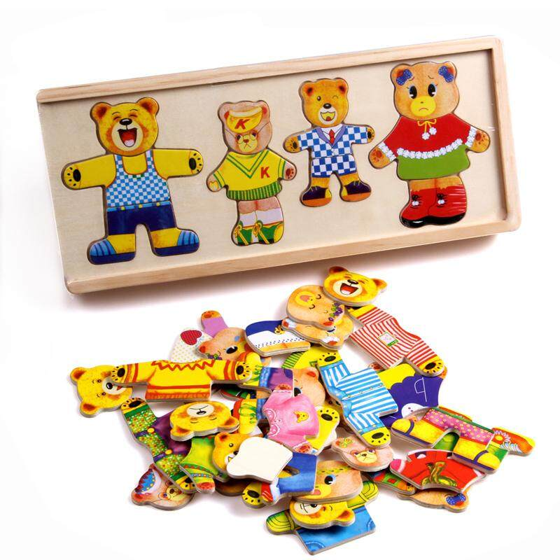 Wooden Puzzle Set Baby Educational Toys Bear Changing Clothes By Myruncit.
