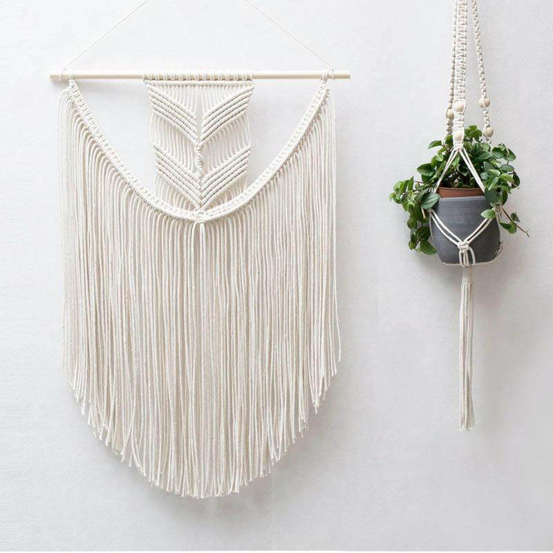Bohemian Decorative Handmade Cotton Rope Knitting Tapestry Macrame Wall Hanging Tapisserie Perfect for Baby's Room Dorm Living Room 40x60cm - intl