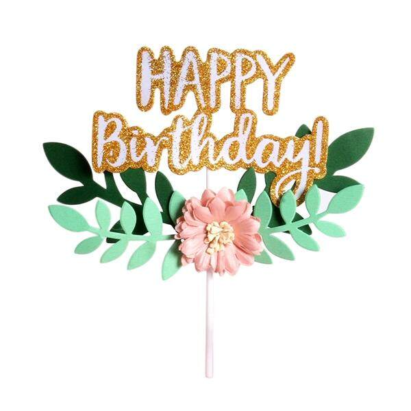 4pcs Happy Birthday Letters Flower Leaves Insert Card With Stick Cake Topper Decor By Pickegg.