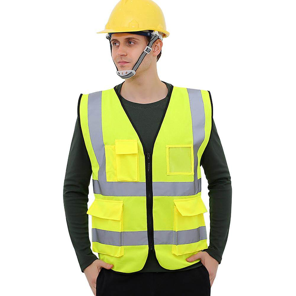 Kacoo Multi-Pockets High Visibility Zipper Front Breathable Safety Vest With Reflective Strips By Kacoo.