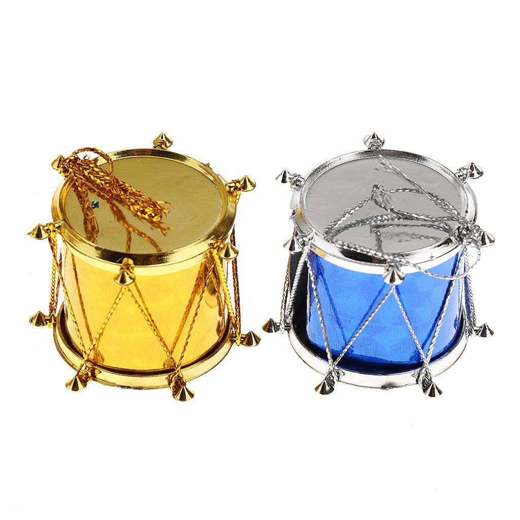 GuangquanStrade 12pcs Christmas Tree Ornaments Snare Drum Multi-Color Hanging Drum