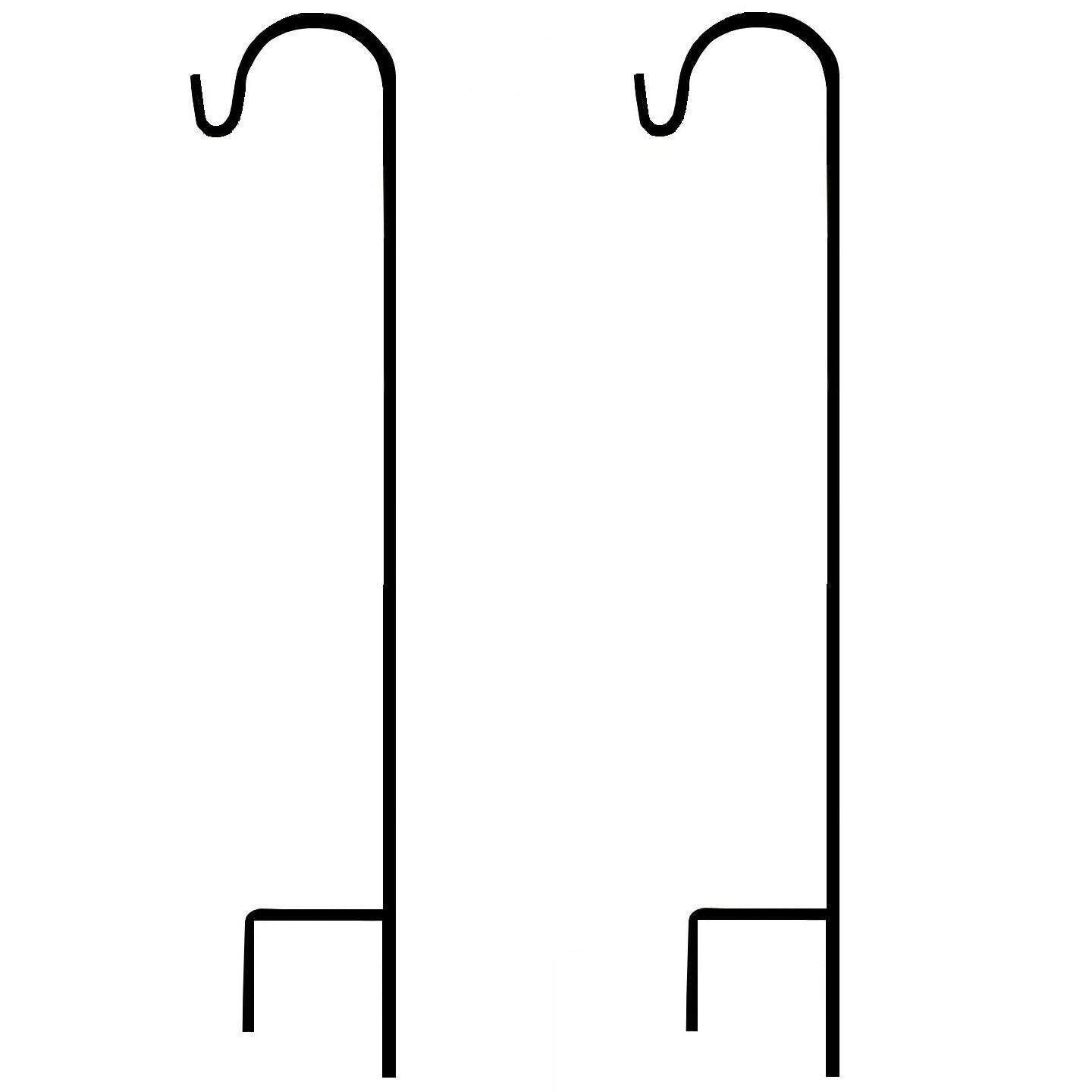 Shepherd Hook 48 Inch Tall 8MM Thick,Set of 2, Made from Solid Steel, Strong Enough for hanging Solar Lights, Flower Baskets, Bird Feeders and More