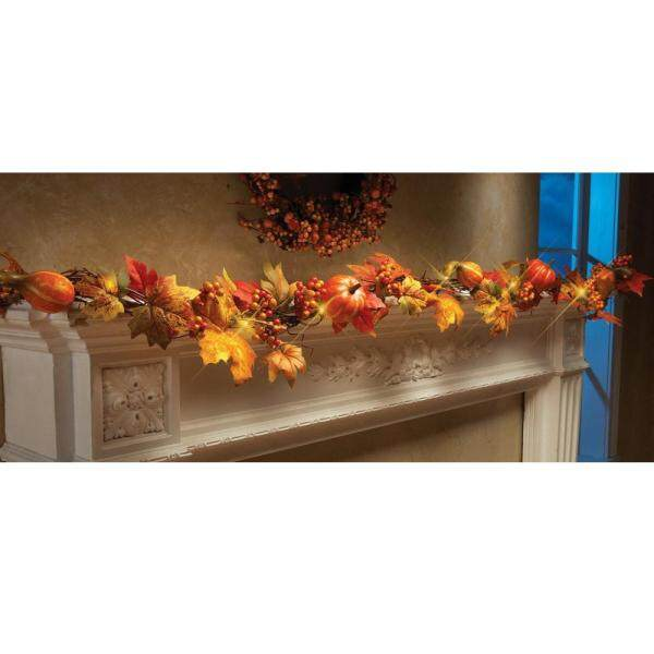 1.8M LED Lighted Fall Autumn Pumpkin Maple Leaves Garland Thanksgiving Decor