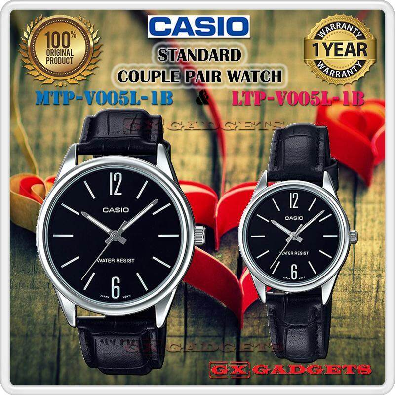 CASIO MTP-V005L-1B + LTP-V005L-1B STANDARD Analog Couple Pair Watch Leather Band Water Resistant MTP-V005 LTP-V005 V005 Series Malaysia