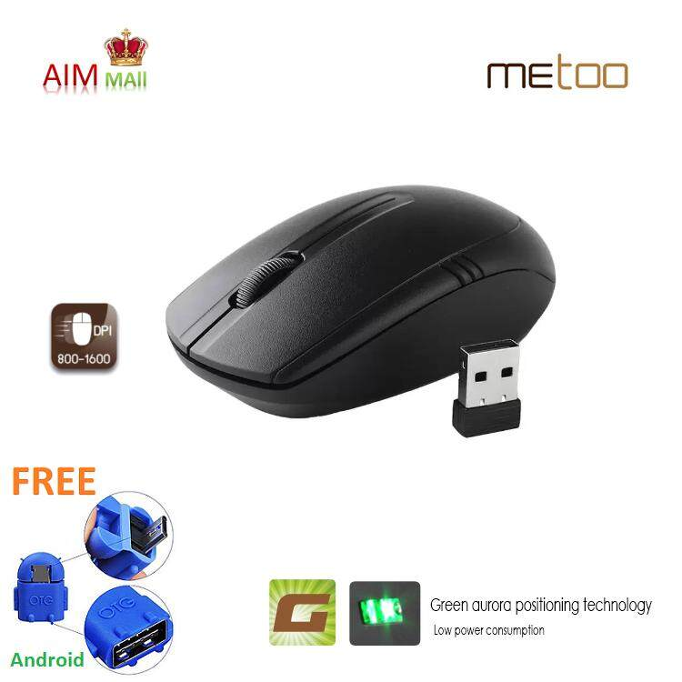 METOO E0 2.4G Wireless 1600dpi Green Aurora Optical mouse Malaysia