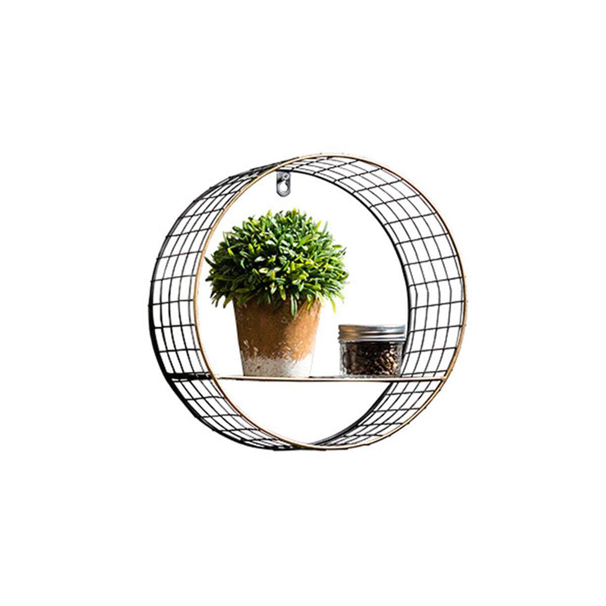 Retro Industrial Metal Wall-Mounted Circular/Round Shelf with Mesh Back