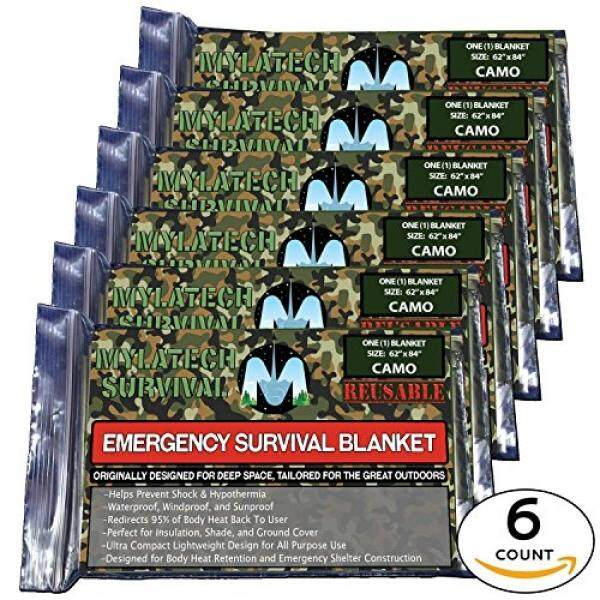 XL MYLATECH SURVIVAL Reusable Emergency Thermal Blankets 6 PACK  62x84 Extra