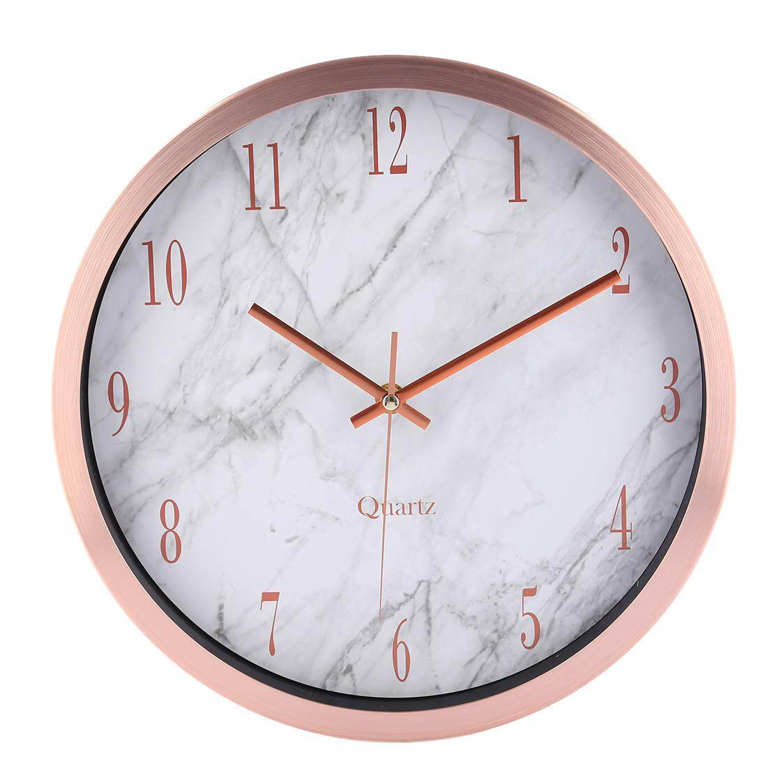 360DSC Marbling Design Round Aluminum Alloy Frame Wall Clock Household Office Mute Clock Wall Decor - Rose Gold - intl