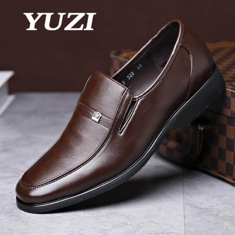 a774565afbf6 Yuzi 2018 Men Formal Shoes Mens Slip On Shoes Leather Brown Black Elastic  Band Men Dress