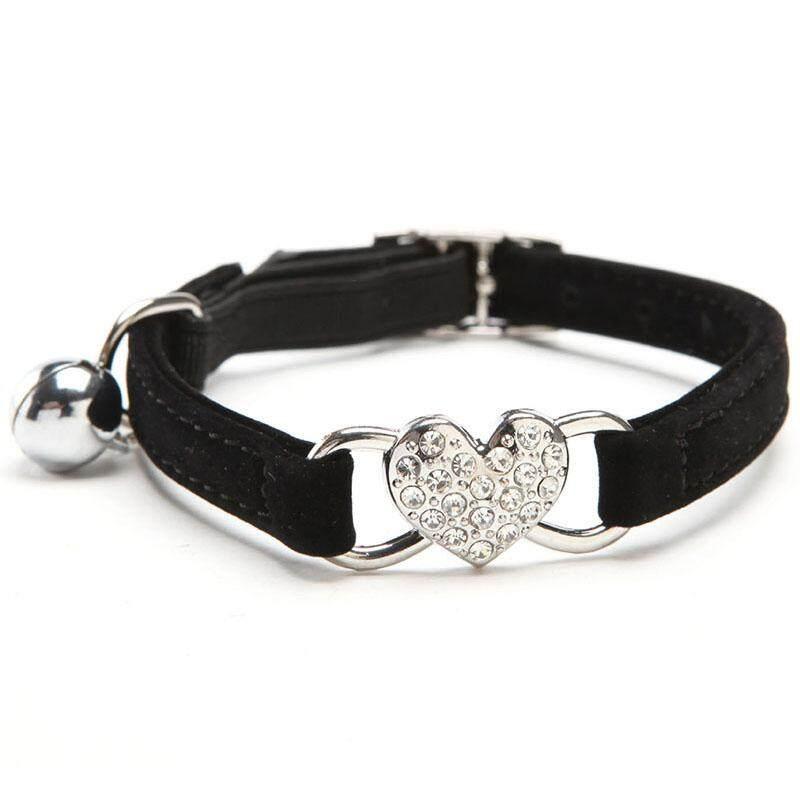 f9115ce02070 Soft Velvet Cat Pet Collar Shining Heart Shaped And Bell Small Cat Pet Dog  Collar Pet