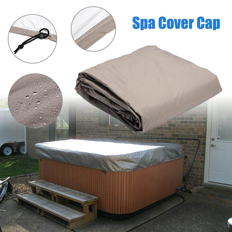 220*220*85cm Silver Hot Tub Spa Cover Cap Waterproof Lightweight Bag Durable Protective Guard By Moonbeam.