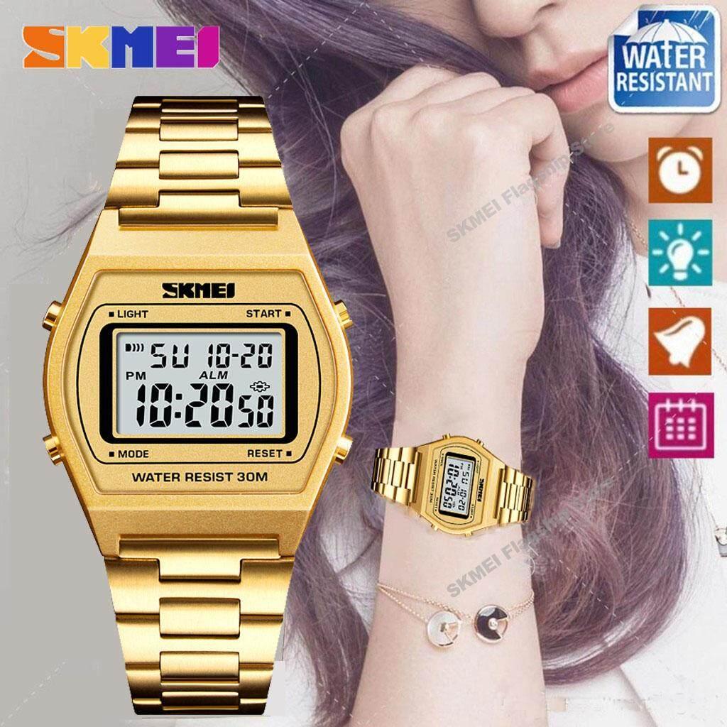 SKMEI New Women Fashion Watches Count Down Waterproof Watch Stainless Steel Fashion Digital Wristwatches Female Clock
