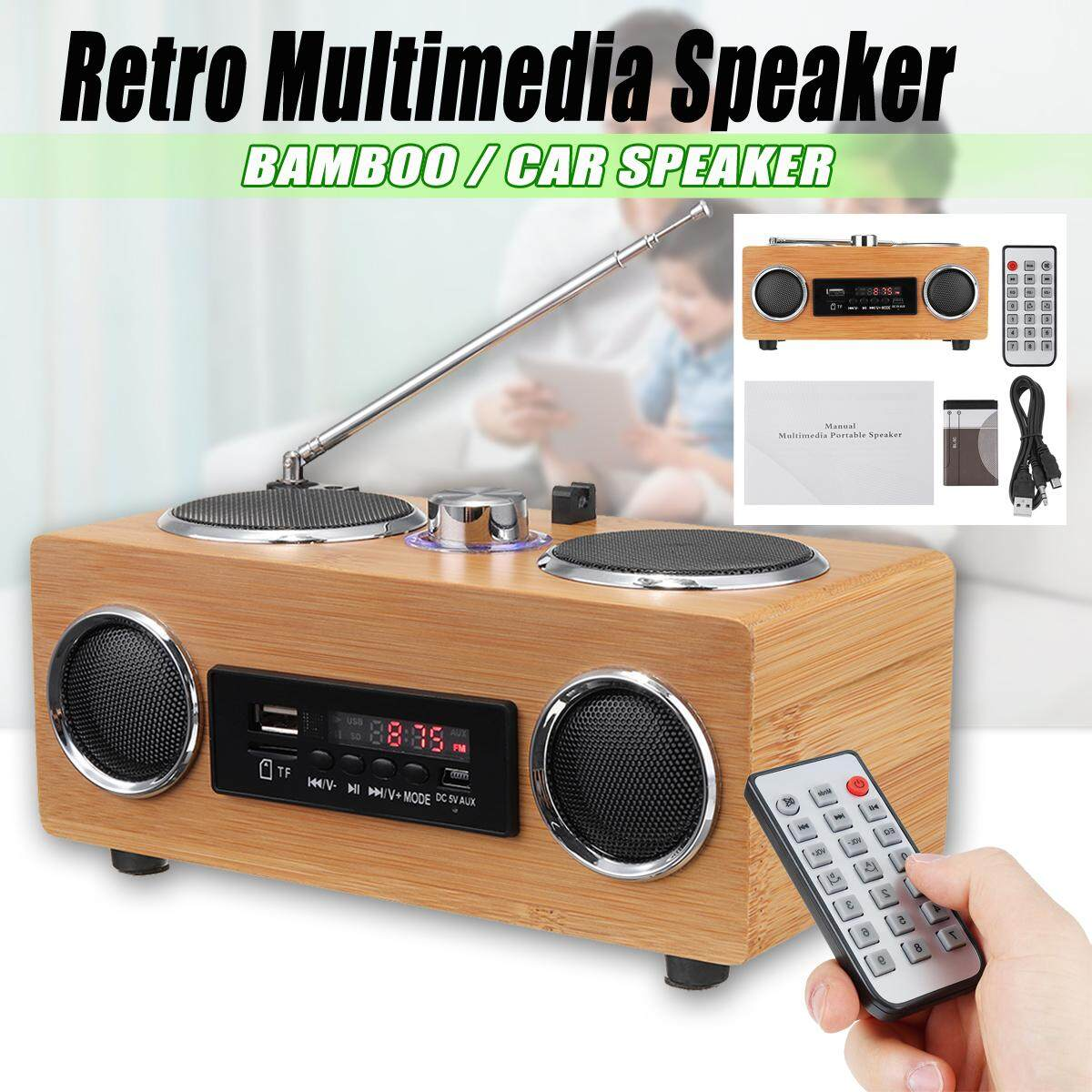 【free Shipping + Super Deal + Limited Offer】retro Vintage Radio Super Bass Fm Radio Bamboo Multimedia Speaker Tf Card/usb/fm Radio/mp3 Player Portable Radio Receiver Natural Bamboo Arts And Crafts By Freebang.
