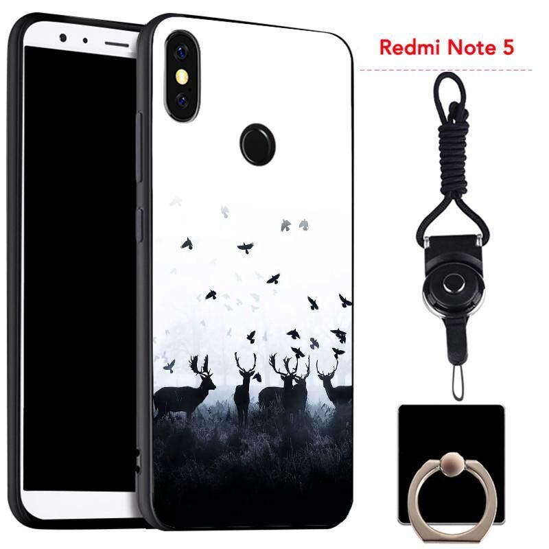 Untuk Xiaomi Redmi Note 5 Silica Gel Casing Lembut Ponsel dengan Cincin dan Tali