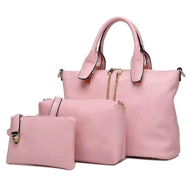 3 Pcs/Set Vintage Handbags Women Messenger Bags Female Purse Solid Shoulder Bags Office Lady