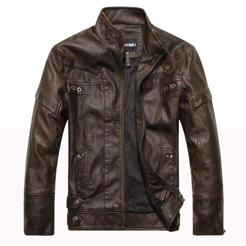 e14f12501f8d9a Men PU Leather Jacket Motorcycle Zipper Cool Slim Fit Coat Top from Gardenia