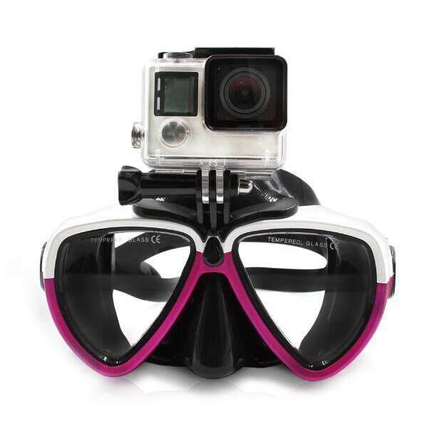 Menyelam Scuba Masker Kacamata Snorkeling Renang Marah Glasse untuk GoPro Hero 5, HERO 4/3/2/1 Xiaoyi Action Camera Putih & Rose Merah 3