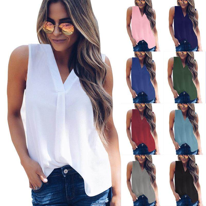 a14760e87e6cf 2018 Spring Summer Fashion Women Chiffon Tank Tops Solid V-neck Casual  Sleeveeless Office Party