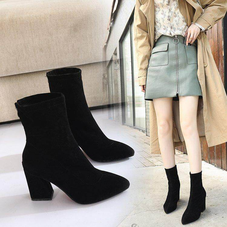 64667053ad0 2018 Autumn & Winter New Style Korean Style Versatile Block Heel Pointed  Short Boots women Tube High Heels Dull Polish Elasticity Fashion Boots