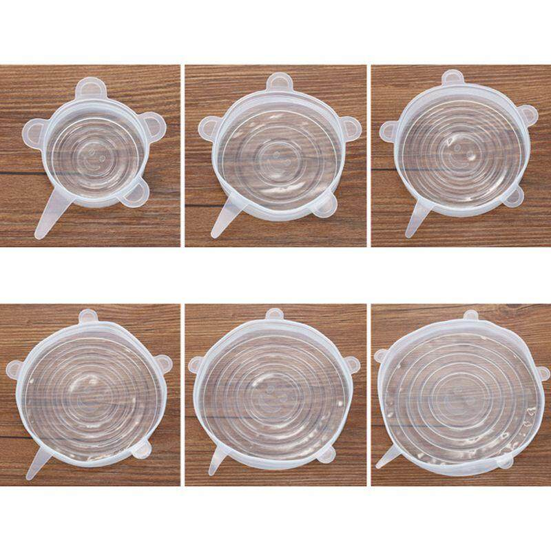 6x Silicone Storage Covers, 6-Pack of Various Sizes Silicone Stretch Lids for Bowl