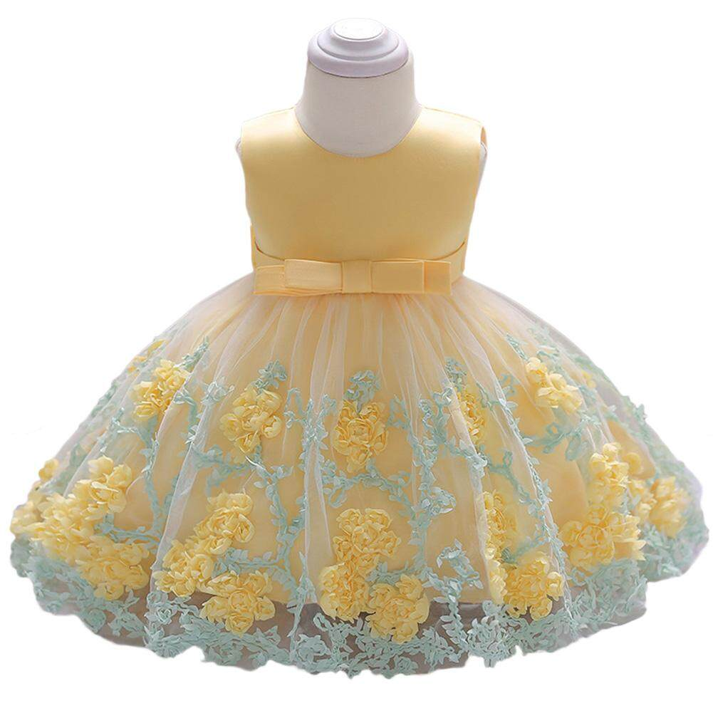 Giá bán Veecome Baby Girl Lace Princess Dress Sleeveless Bowknot Flower Skirt For Summer - intl