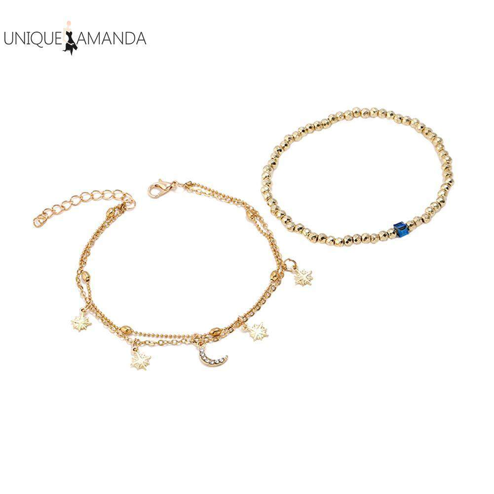 Fashion Women Multilayers Foot Chain Beads Star Moon Pendant Anklet Jewelry By Unique Amanda.
