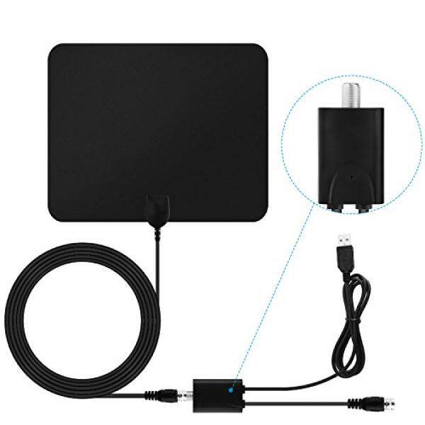 Blimark TV Antenna HD Digital Indoor Amplifier Signal Booster HdTV Antenna 50 Mile Range 1080P Ultra Thin Coaxial Cable Micro Receiver Leaf for TV - intl