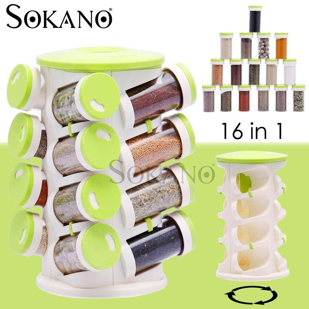SOKANO Spices Rack 16 in 1 Rotating Spice Tower Storage with Jars