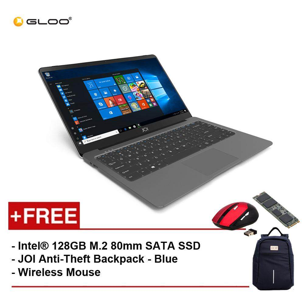 JOI Book 100 A147G 14 FHD (Cel N3450, 4GB, 32GB, Intel HD 500, W10) - Dark Grey [Free Intel® 128GB M.2 80mm SATA SSD + JOI Anti-Theft Backpack - Blue + Wireless Mouse] Malaysia