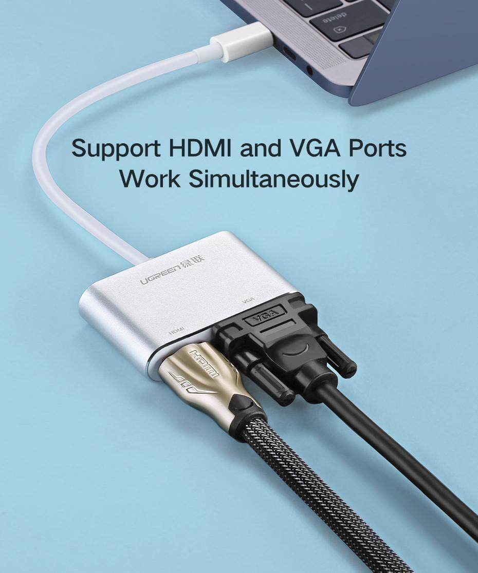 UGREEN USB C HDMI VGA Adapter Type-c to HDMI 4K for MacBook Pro HP Envy 13  Dell XPS13/15 Lenovo miix510,Huawei Mate 10 P20 Samsung S8 Note 8