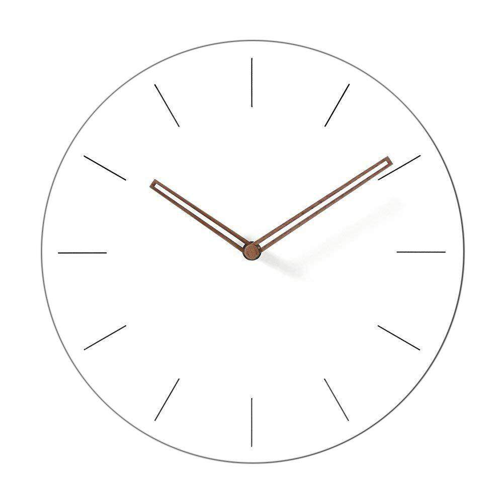 Simple Modern White Round Wooden Wall Clock 11 inch Non-ticking one AA battery powered (Time Bars) Free Shipping