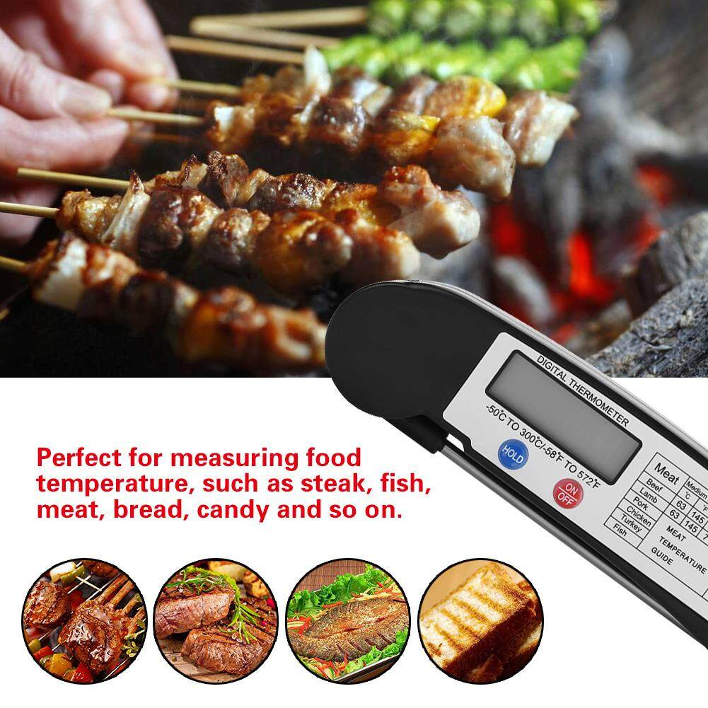 LCD Digital Food Meat Thermometer with Foldable Probe Kitchen Cooking BBQ Grill Temp Tester