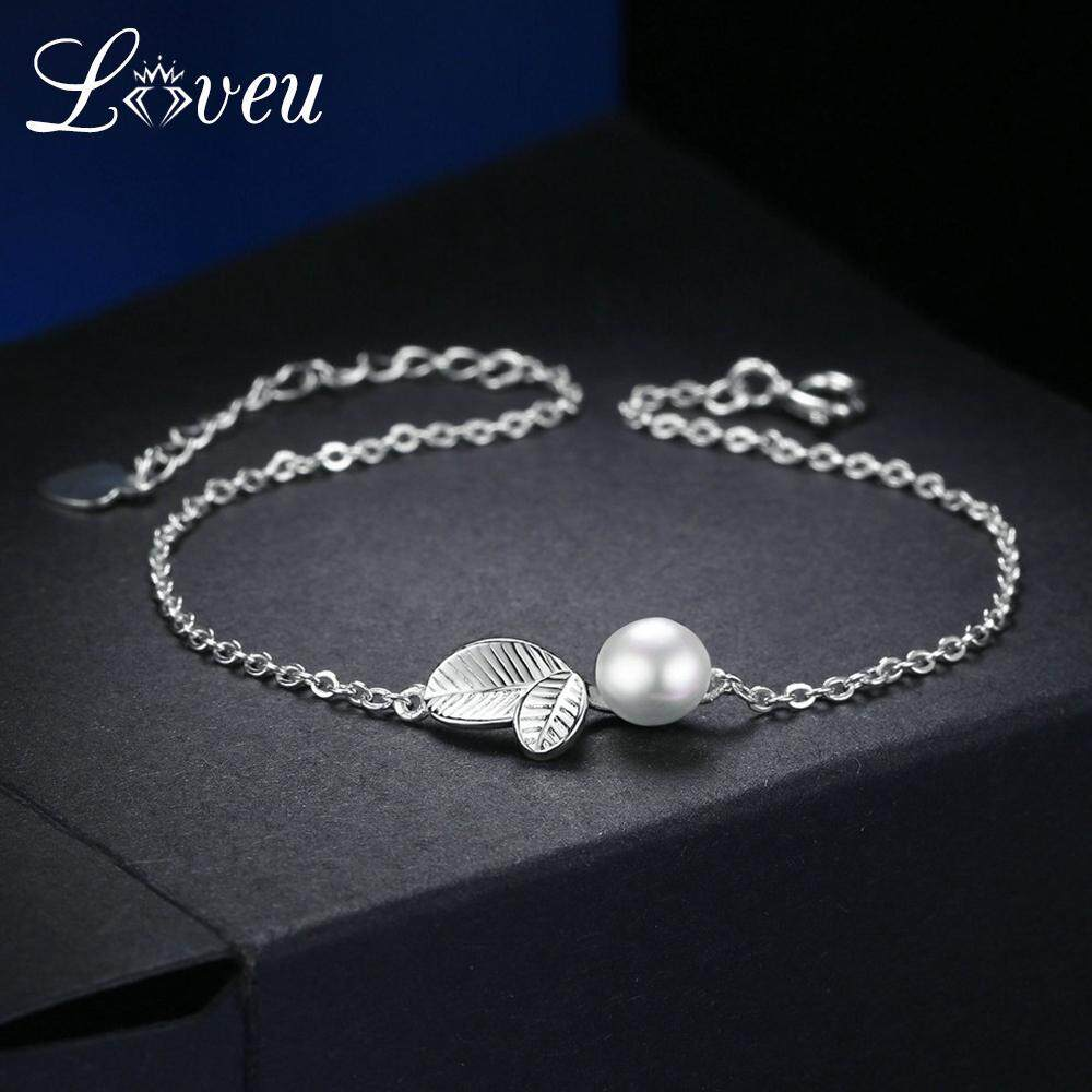 3b01bd312bc LOVEU Charms Leaf   Pearl Beads Bracelets   Bangles 100% 925 Sterling Silver  S925 Jewelry