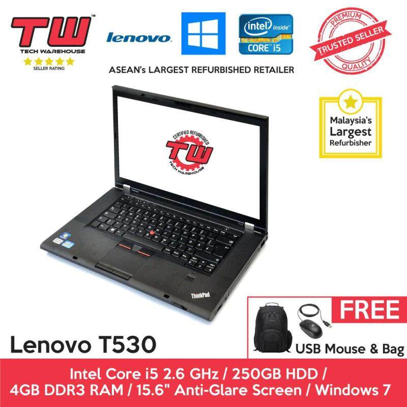Lenovo T530 Core i5 2.6 GHz / 4GB RAM / 250GB HDD / Windows 7 Laptop / 12 Months Warranty (Factory Refurbished) Malaysia
