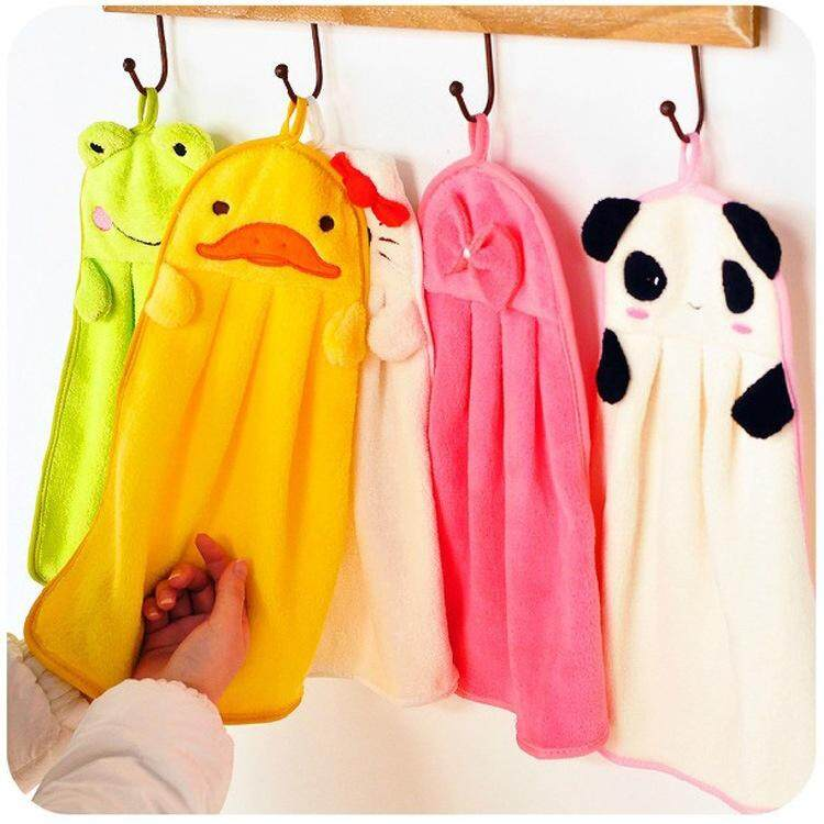 2 Pc Cute Animal Microfiber Kids Children Cartoon Absorbent Hand Dry Towel Lovely Towel for Kitchen Bathroom Use