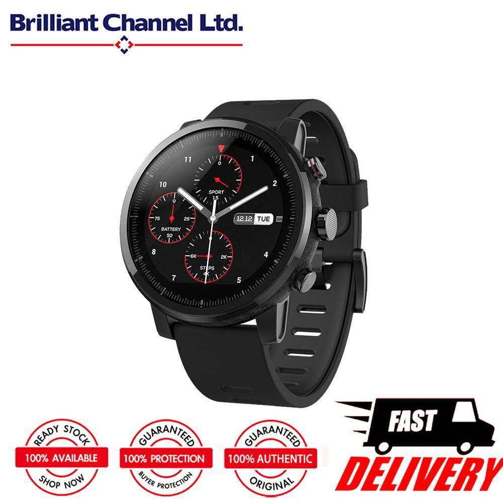 Low Cost Original Xiaomi Huami Amazfit Stratos Smart Sports Watch 1 34 Inch 2 5D Screen 5Atm Water Resistant Gps Firstbeat Swimming Mode Wos 2 With Silicone Strap Black English Version