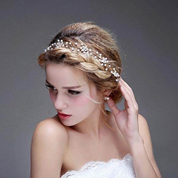 Bridalvenus Wedding Bridal Silver Headband Pearl Halo Hair Updo Accessory Bridesmaid
