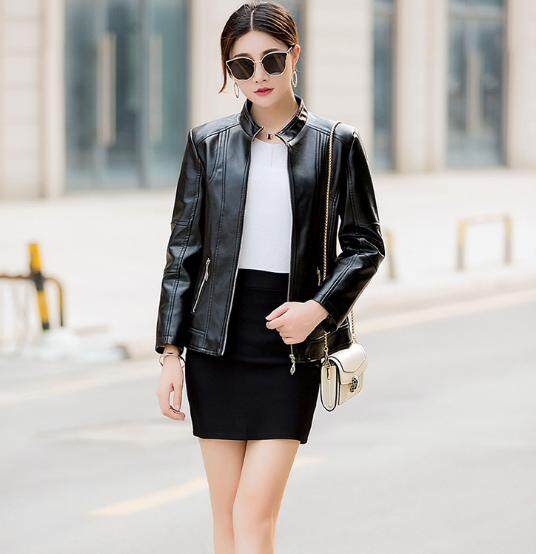 2019 Fashion Kulit Jaket Kulit Perempuan Korea Slim Sepeda Motor Jaket Kulit