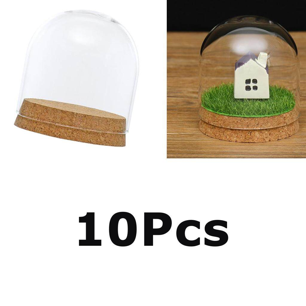 Perfk 10Pcs 8x8cm Desktop Glass Dome Cover Shade Shield Cloche Bell Jar Landscape Terrariums with Wood Cork,Dry Flower Vase