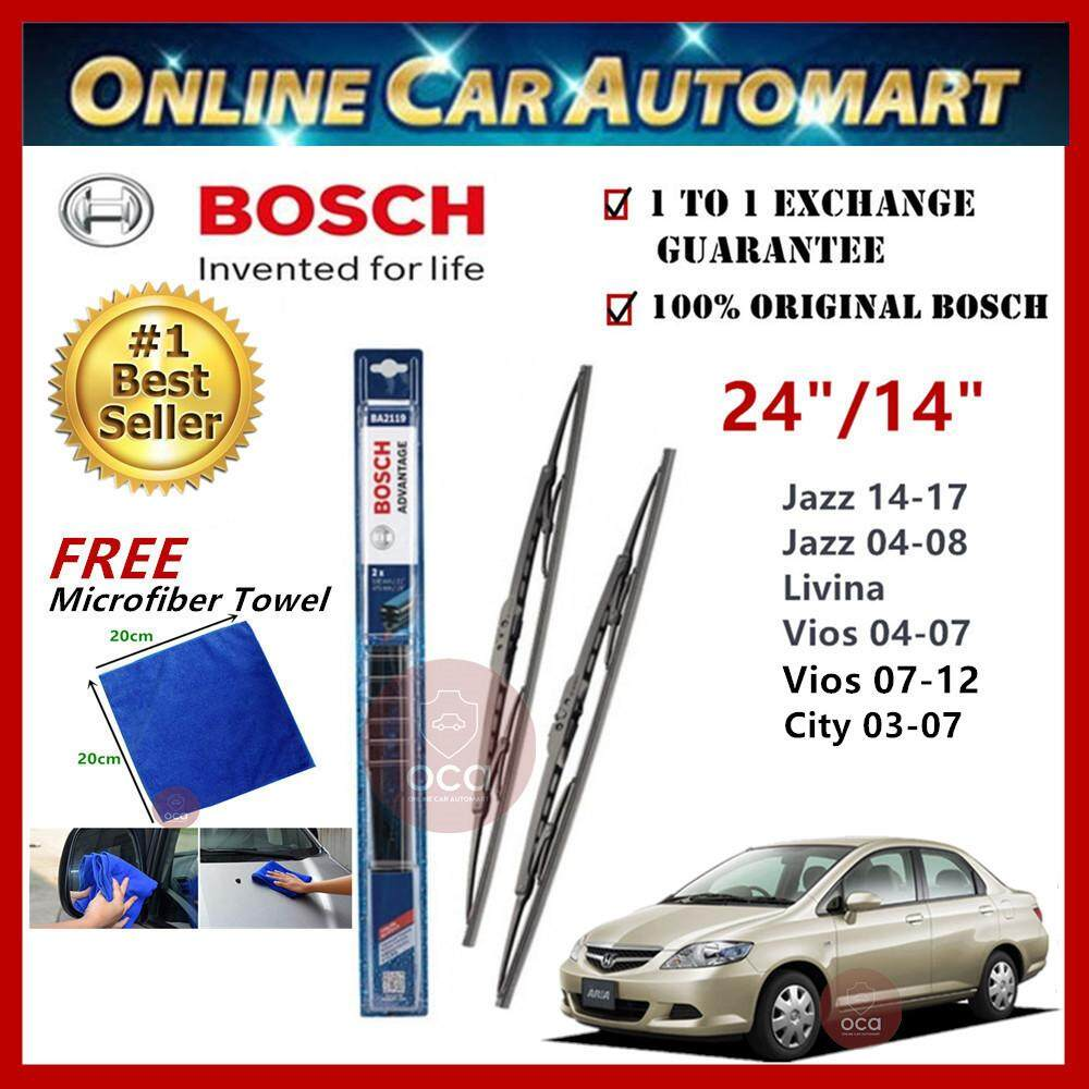 Honda City (iDSI/VTEC) Yr 2003-2017 - Bosch Advantage Wiper Blade (Set) - Compatible only with U-Hook Type - 24 inch & 14 inch