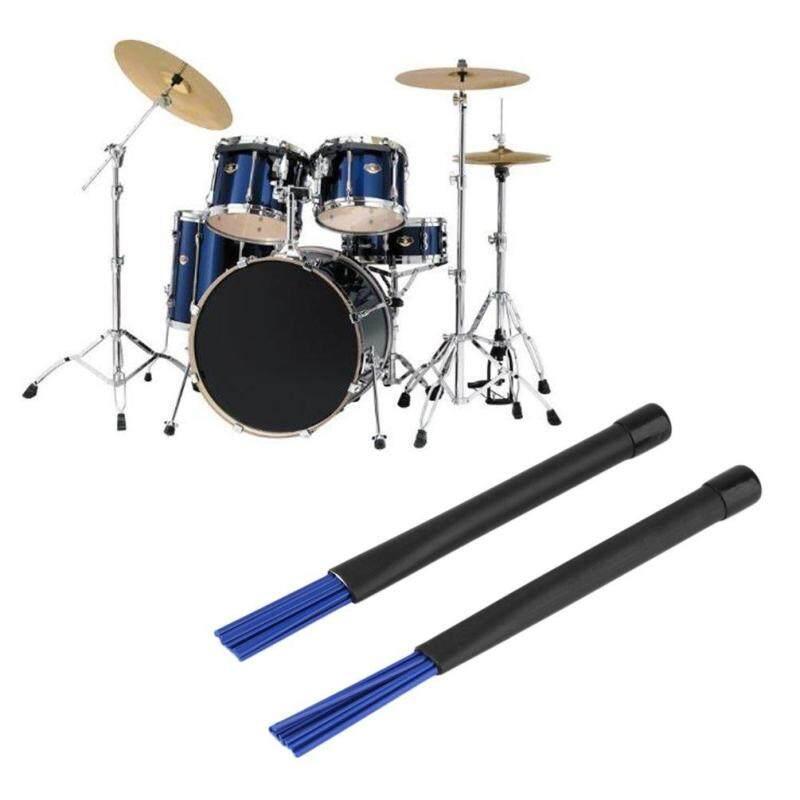 ELEC 1 Pair Retractable Telescopic Drum Blue Nylon Brushes Sticks Black Handle