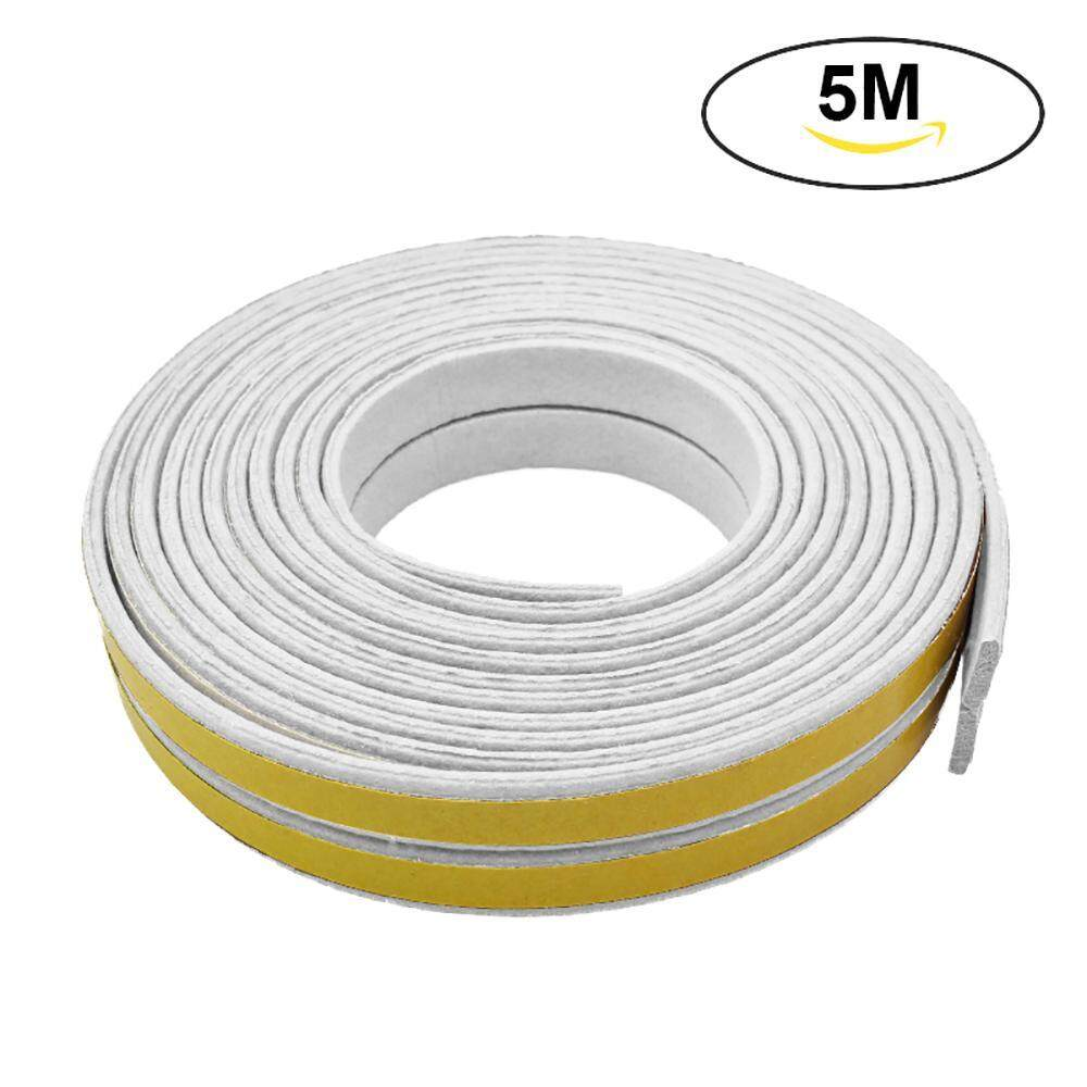 AOJBTENG Seal Strip, Soundproof Indoor Weather Stripping Collision Avoidance Dustproof and Pest Control Self-Adhesive Weatherstrip for Doors and Windows D Type EPDM 16Ft(5M), Black - intl