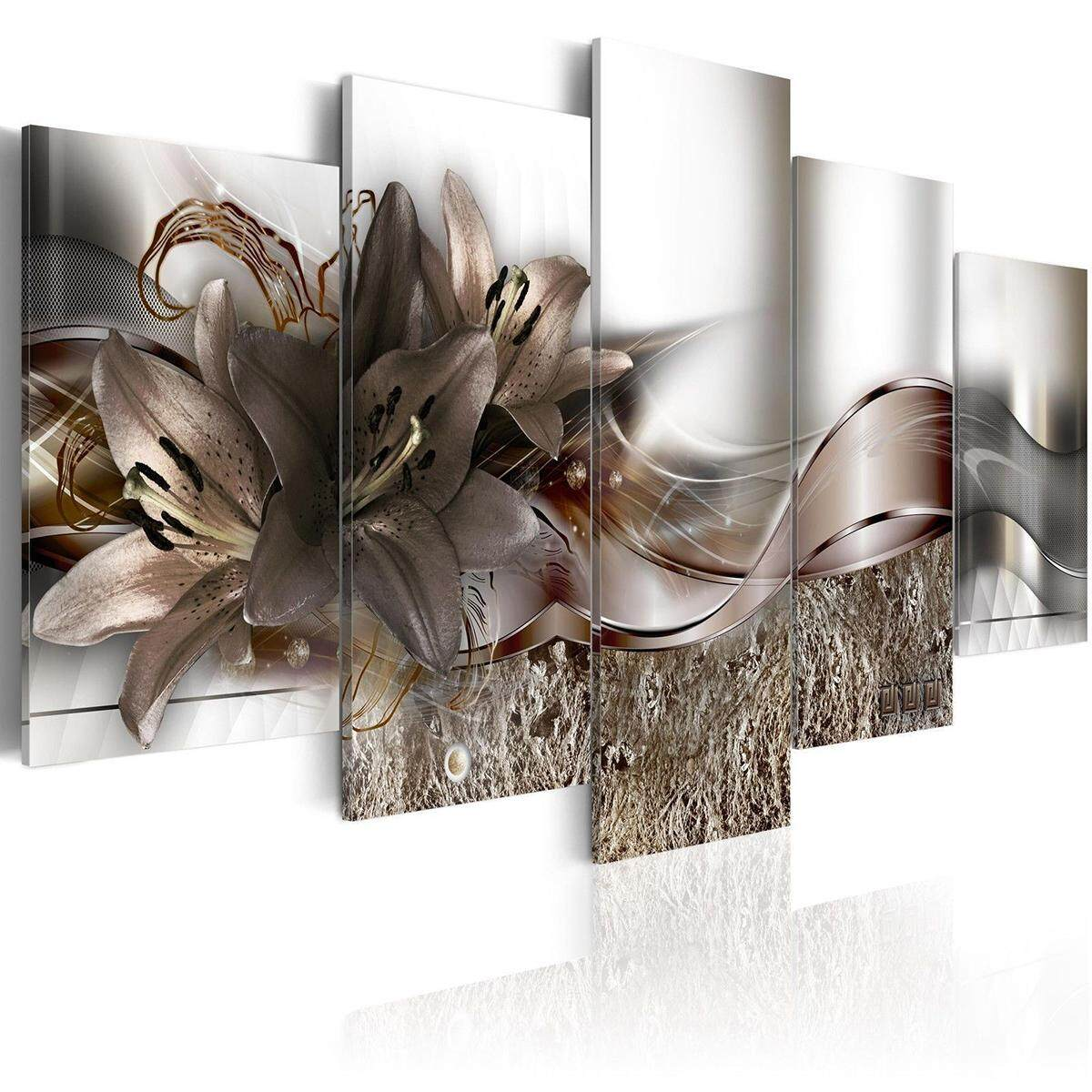 5 Panels Large Abstract Flowers Print Pictures Canvas Wall Art Prints Unframed
