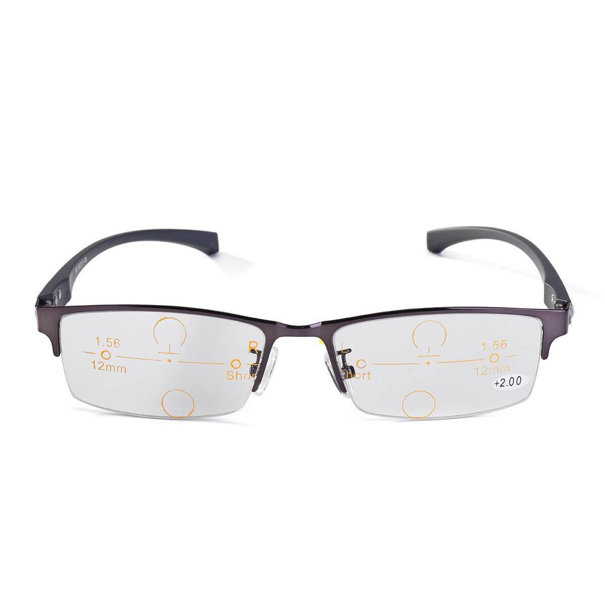 Photochromic Multi Fokus Kacamata Progresif Transisi Kacamata untuk Membaca [Gray Plain Ringan + 175]