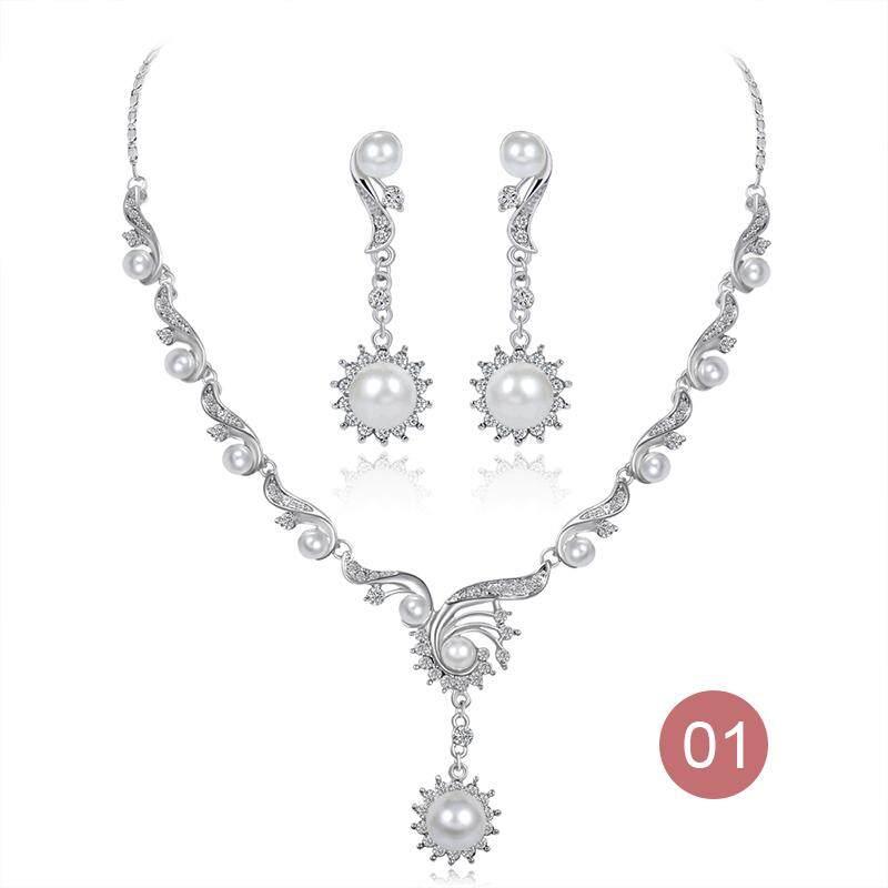 Kalung Perhiasan Anting-anting Wanita Lady Pernikahan Menembak Berlian Imitasi Set Perhiasan Mutiara Fashion-