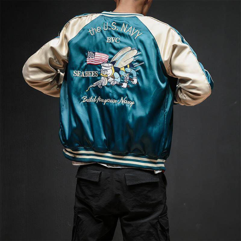 ZZOOI Two Sides Luxury Embroidery Bomber Jacket Smooth Men Sukajan Yokosuka Souvenir Jacket Streetwear Hip Hop