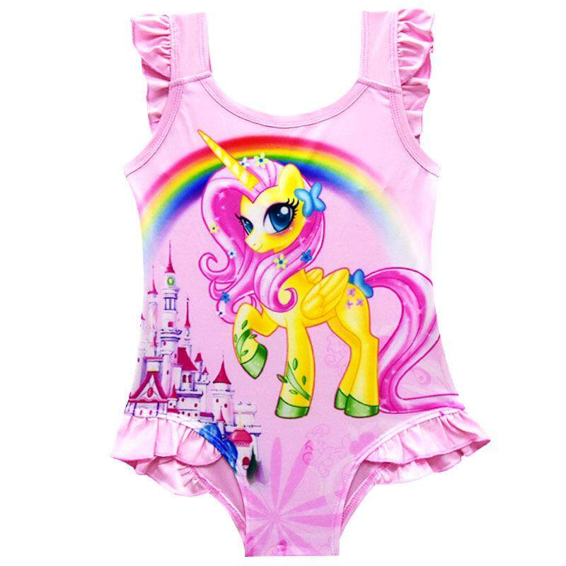 Giá bán LanDen New Girl Swimsuits Fashion Swimsuit Cartoon Swimwear Rainbow Children Swimming Suits Conjoined