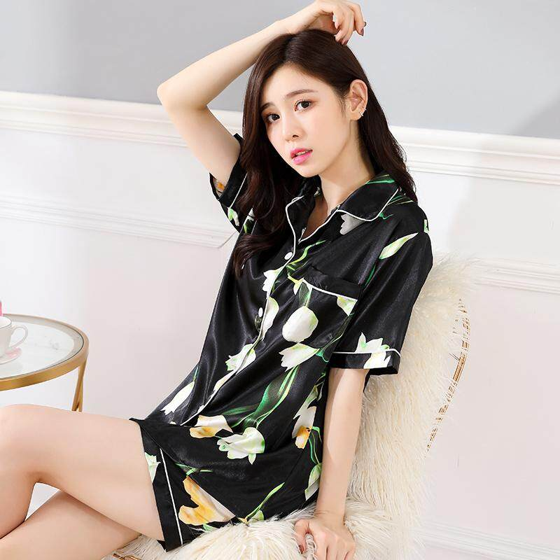 ad7c043873 Pajamas women Summer Short Sleeve Silk Sexy Summer women Thin Large Size  Home Service Two-
